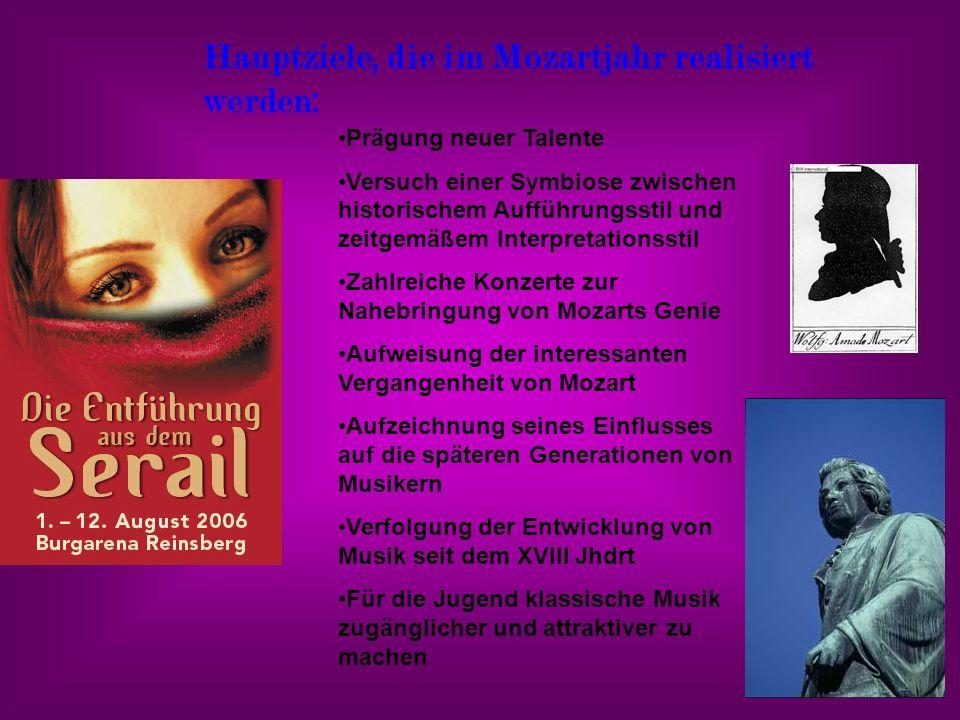 Hauptziele, die im Mozartjahr realisiert werden: