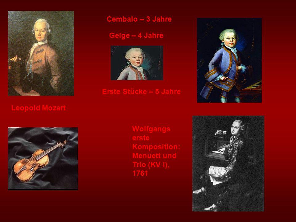 Cembalo – 3 Jahre Geige – 4 Jahre. Erste Stücke – 5 Jahre.