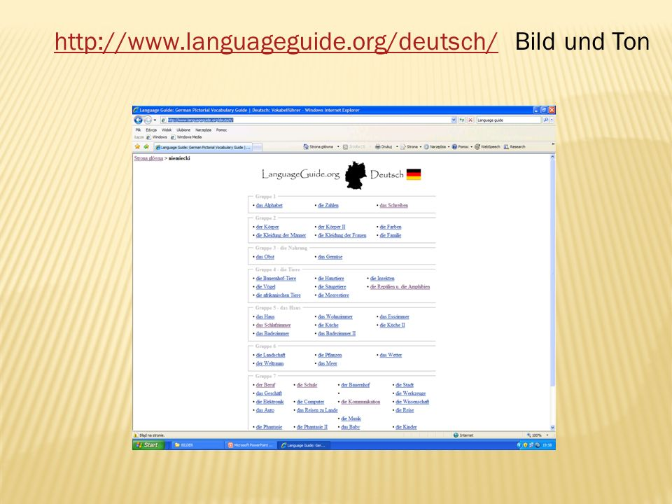 http://www.languageguide.org/deutsch/ Bild und Ton