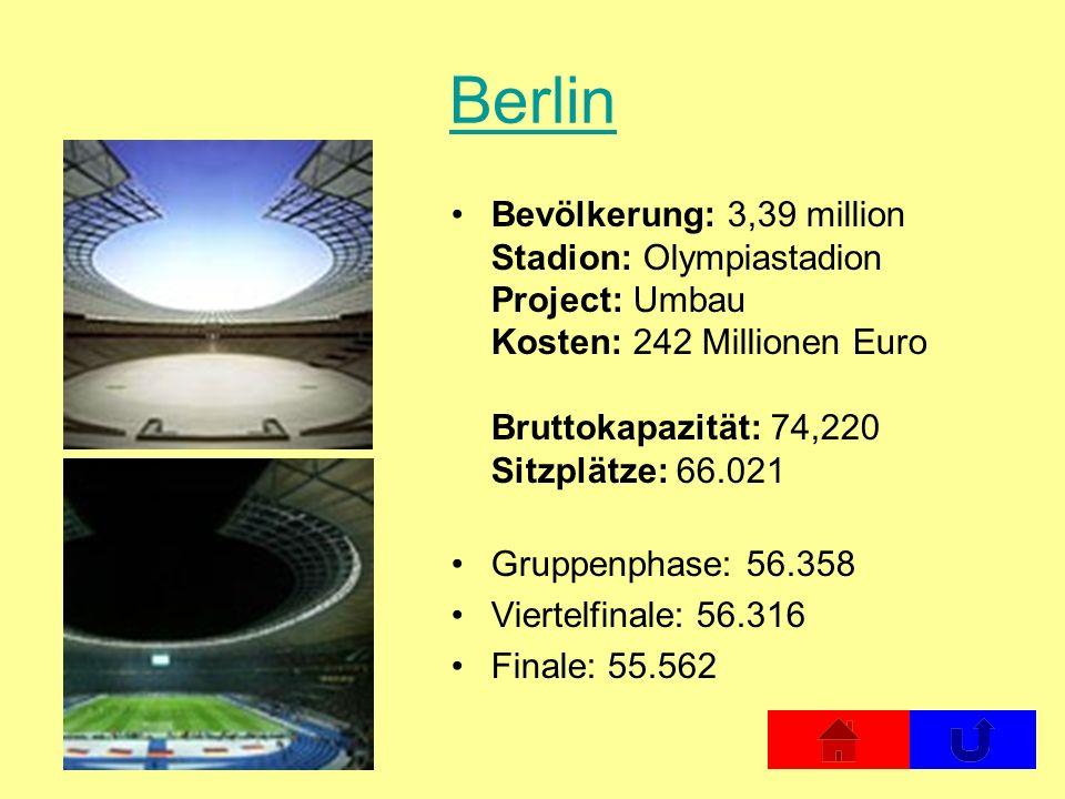 Berlin Bevölkerung: 3,39 million Stadion: Olympiastadion Project: Umbau Kosten: 242 Millionen Euro Bruttokapazität: 74,220 Sitzplätze: 66.021