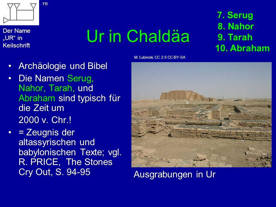 Ur in Chaldäa 7. Serug 8. Nahor 9. Tarah 10. Abraham