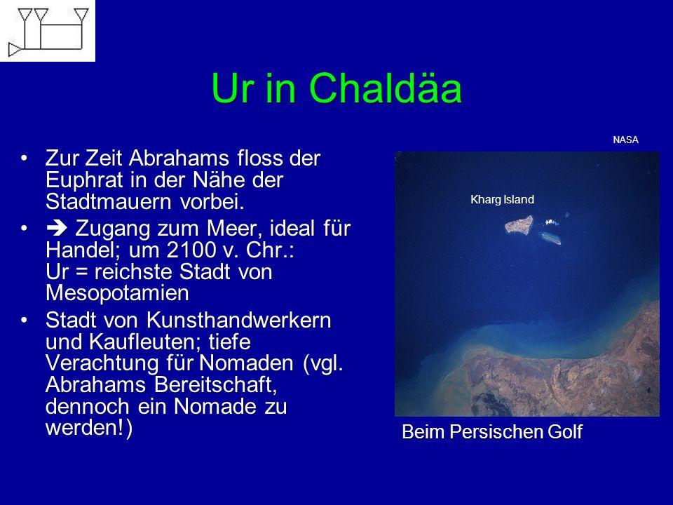 Ur in Chaldäa NASA. Zur Zeit Abrahams floss der Euphrat in der Nähe der Stadtmauern vorbei.