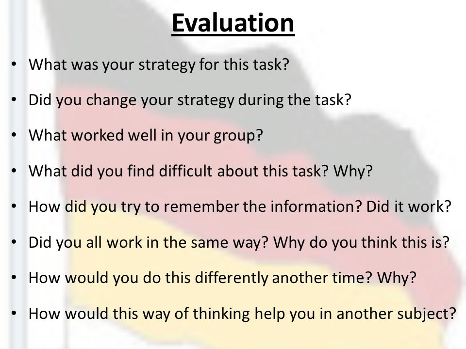 Evaluation What was your strategy for this task