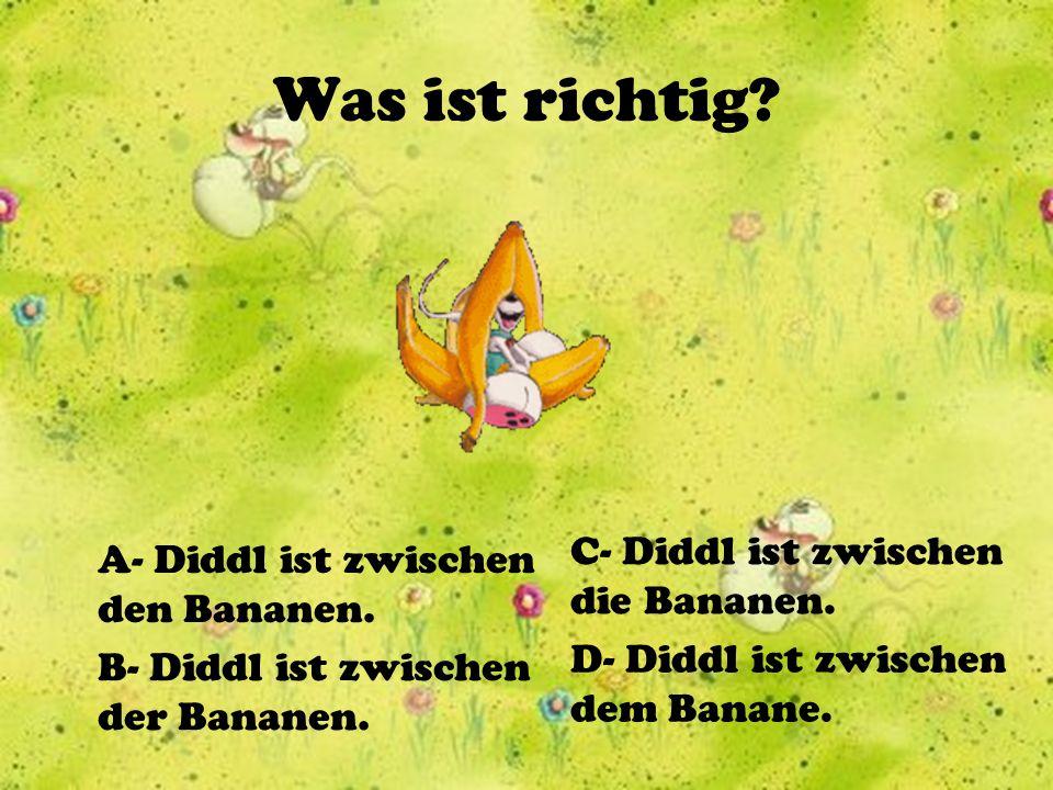 Was ist richtig C- Diddl ist zwischen die Bananen.