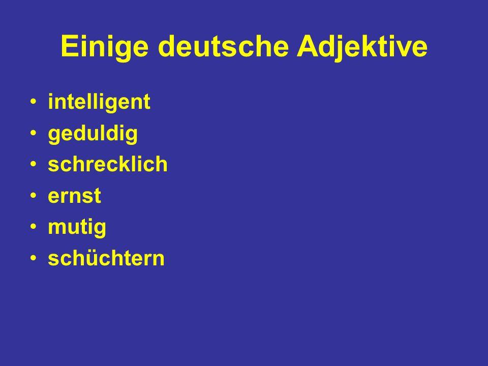 Einige deutsche Adjektive