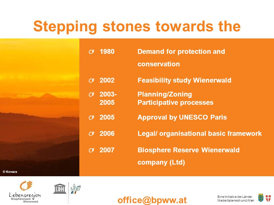 Stepping stones towards the Biosphere Reserve