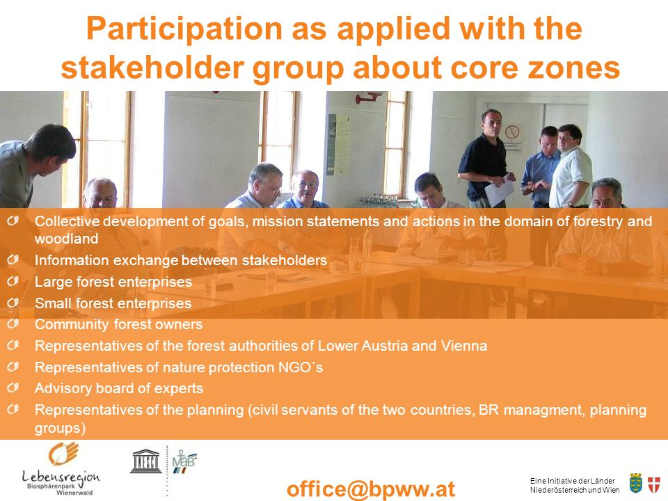 Participation as applied with the stakeholder group about core zones