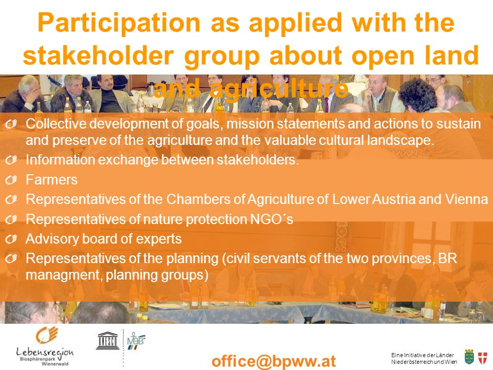 Participation as applied with the stakeholder group about open land and agriculture