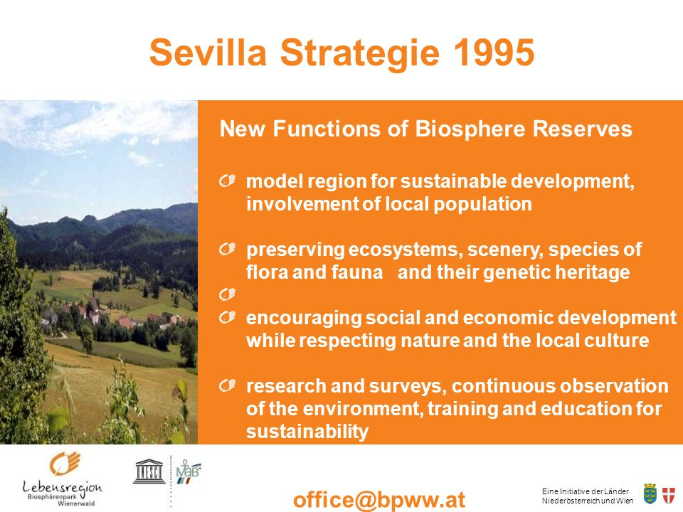 Sevilla Strategie 1995 New Functions of Biosphere Reserves