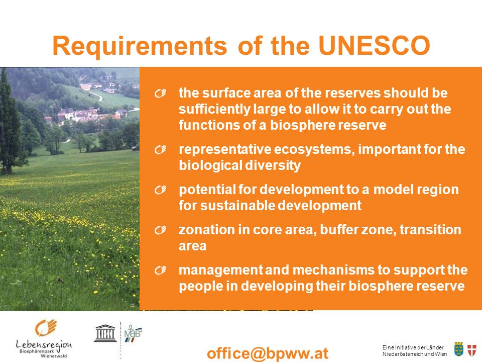 Requirements of the UNESCO