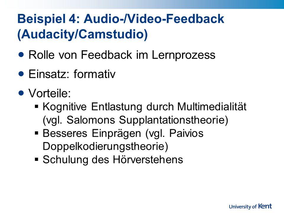 Beispiel 4: Audio-/Video-Feedback (Audacity/Camstudio)