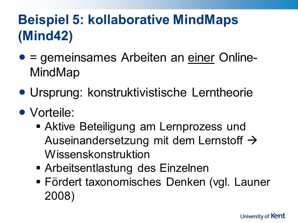 Beispiel 5: kollaborative MindMaps (Mind42)