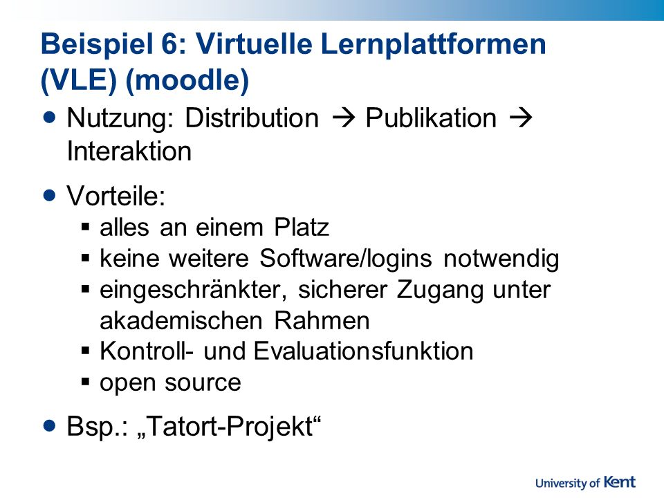 Beispiel 6: Virtuelle Lernplattformen (VLE) (moodle)