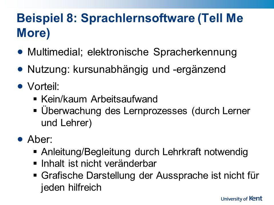 Beispiel 8: Sprachlernsoftware (Tell Me More)
