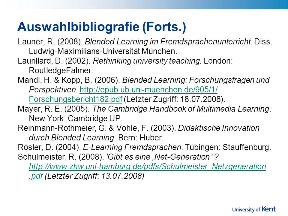 Auswahlbibliografie (Forts.)