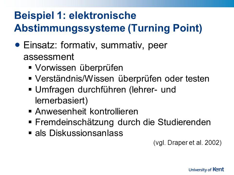 Beispiel 1: elektronische Abstimmungssysteme (Turning Point)