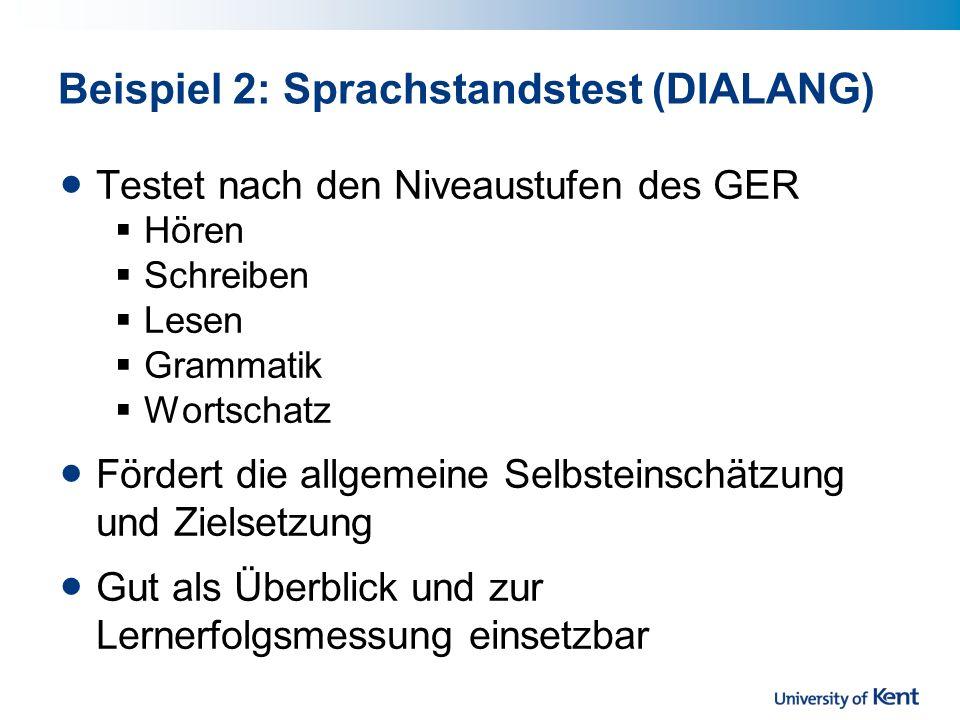 Beispiel 2: Sprachstandstest (DIALANG)