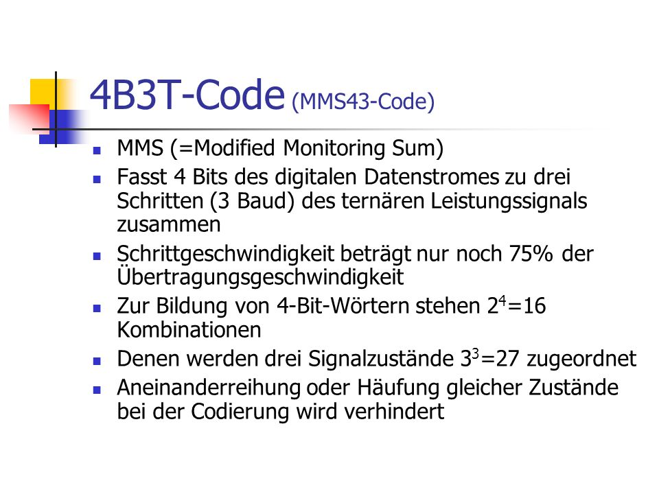4B3T-Code (MMS43-Code) MMS (=Modified Monitoring Sum)
