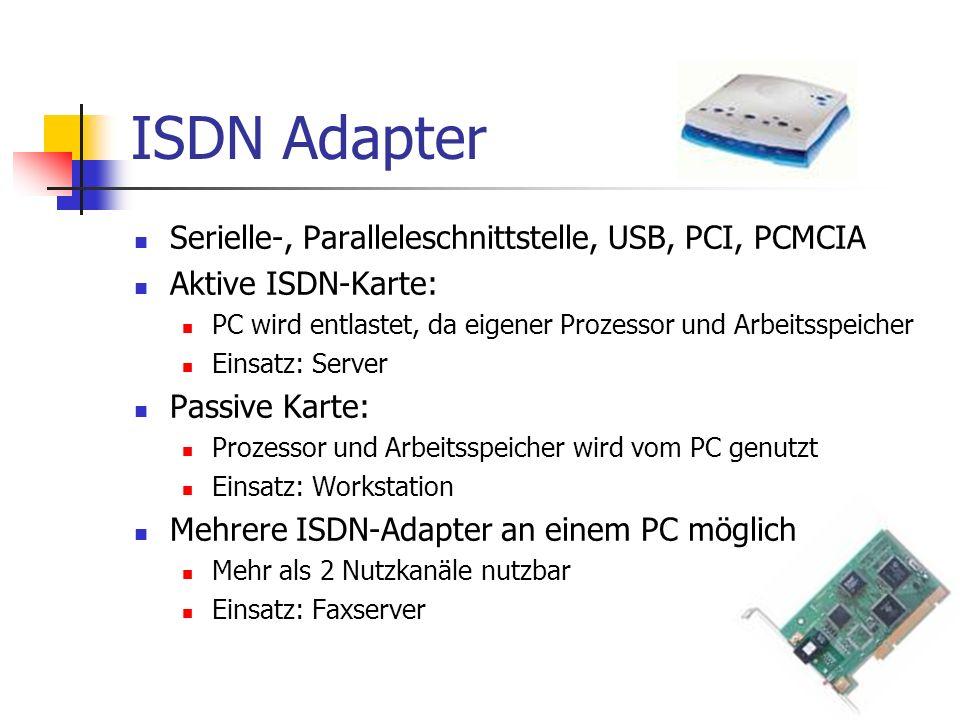 ISDN Adapter Serielle-, Paralleleschnittstelle, USB, PCI, PCMCIA