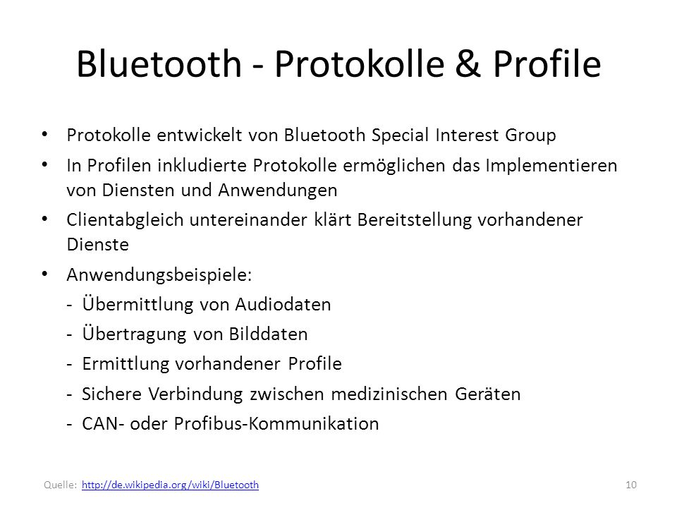 Bluetooth - Protokolle & Profile