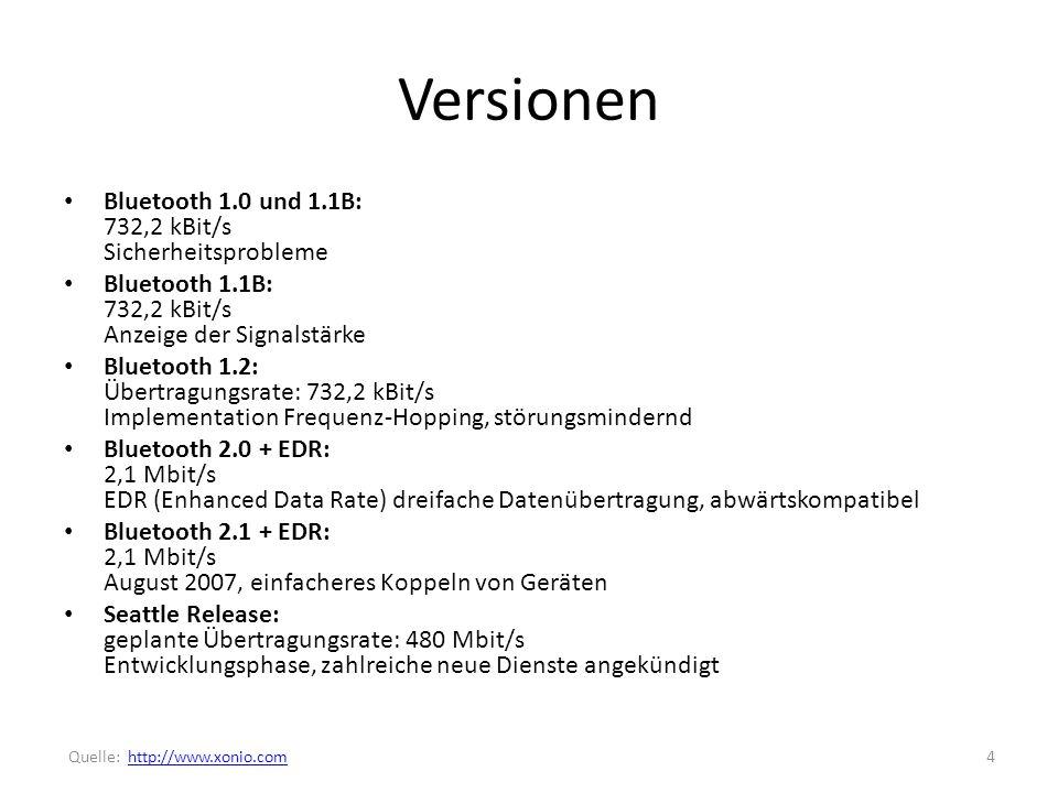 Versionen Bluetooth 1.0 und 1.1B: 732,2 kBit/s Sicherheitsprobleme