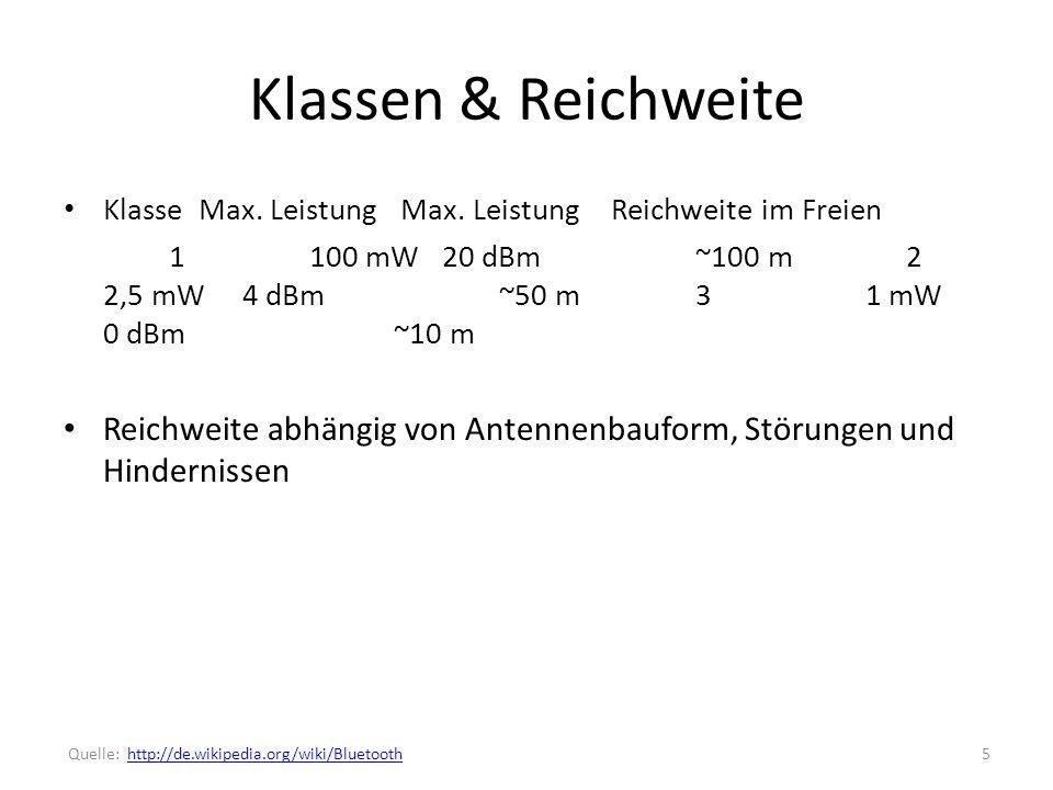 Klassen & Reichweite Klasse Max. Leistung Max. Leistung Reichweite im Freien.