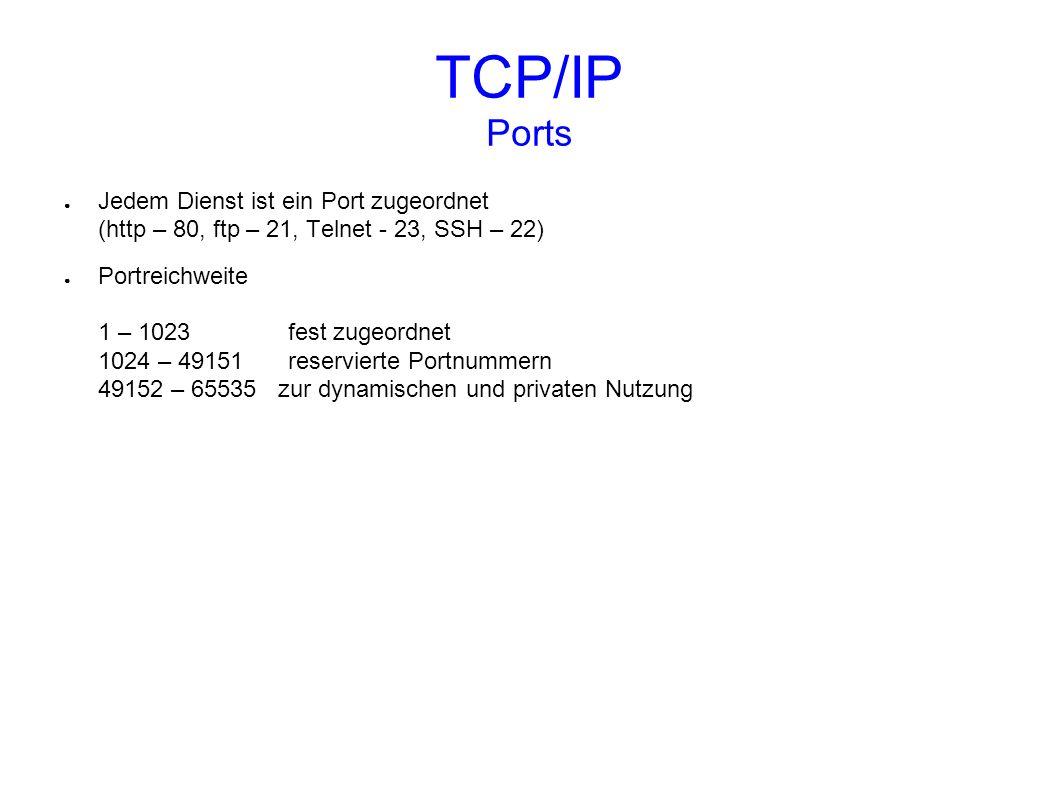 TCP/IP Ports Jedem Dienst ist ein Port zugeordnet (http – 80, ftp – 21, Telnet - 23, SSH – 22)