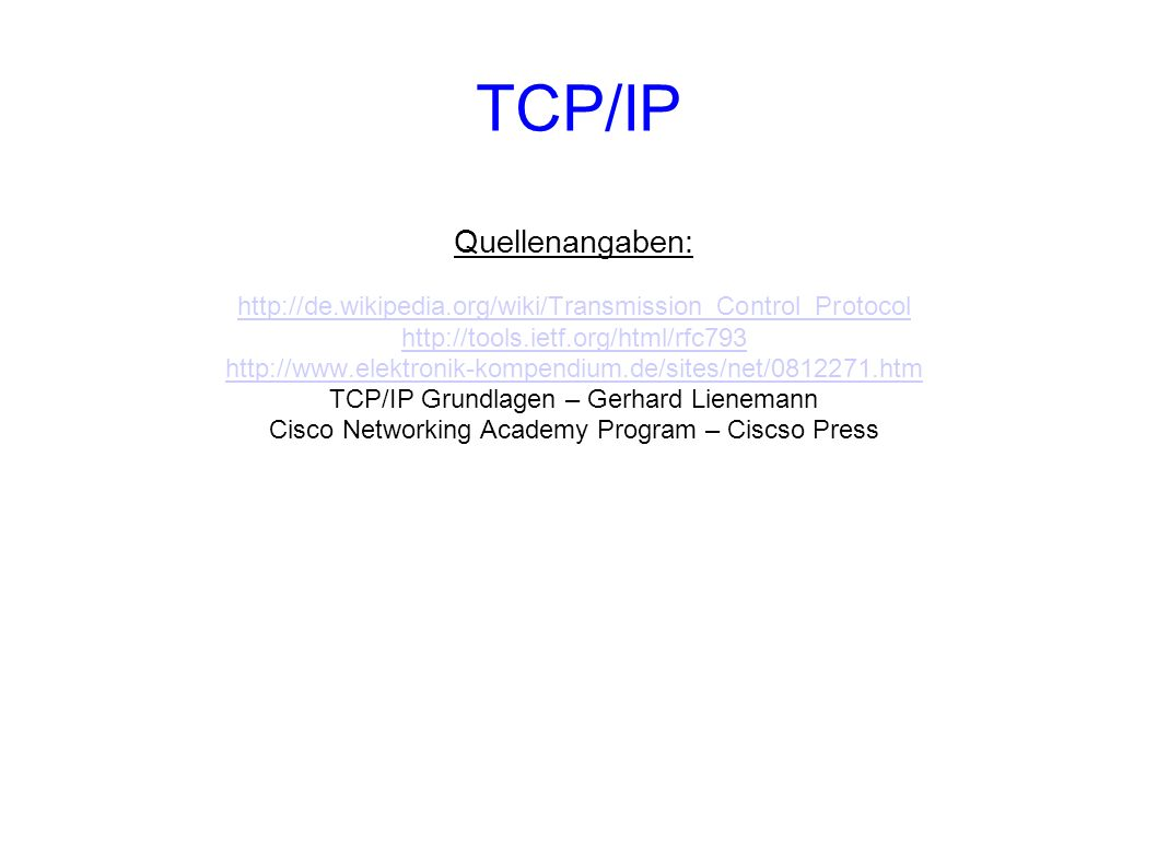 TCP/IP Quellenangaben: