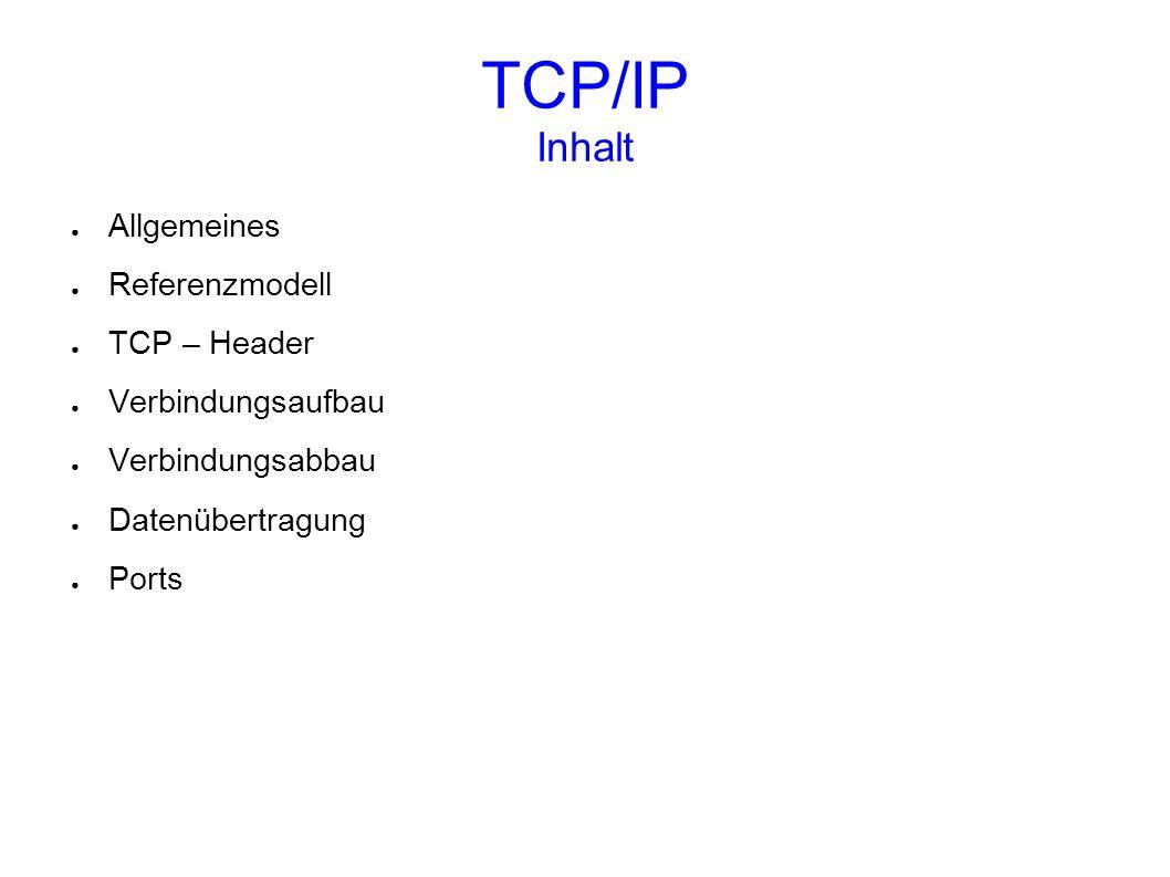 TCP/IP Inhalt Allgemeines Referenzmodell TCP – Header
