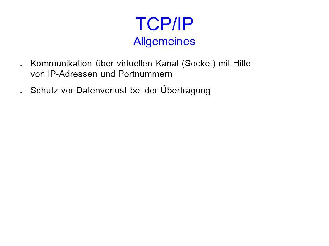 TCP/IP Allgemeines Kommunikation über virtuellen Kanal (Socket) mit Hilfe von IP-Adressen und Portnummern.