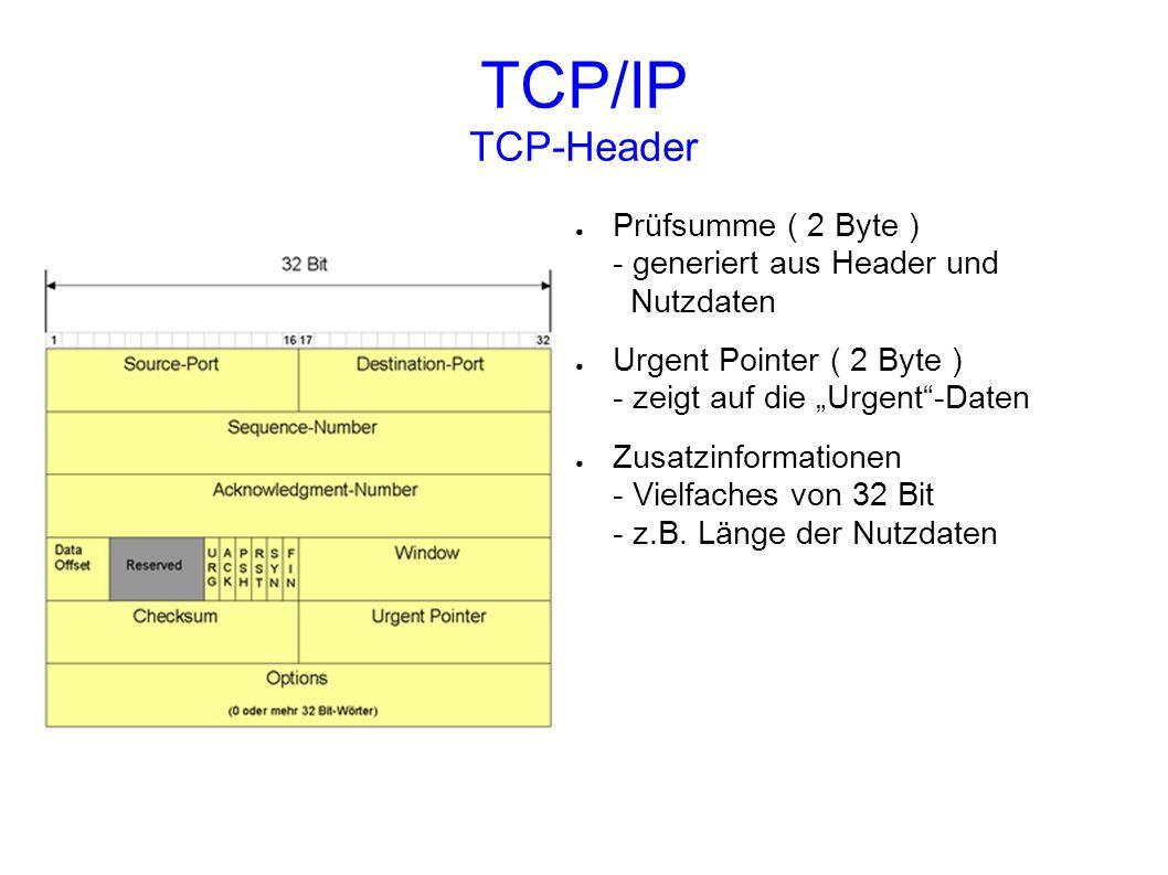 """TCP/IP TCP-Header Prüfsumme ( 2 Byte ) - generiert aus Header und Nutzdaten. Urgent Pointer ( 2 Byte ) - zeigt auf die """"Urgent -Daten."""
