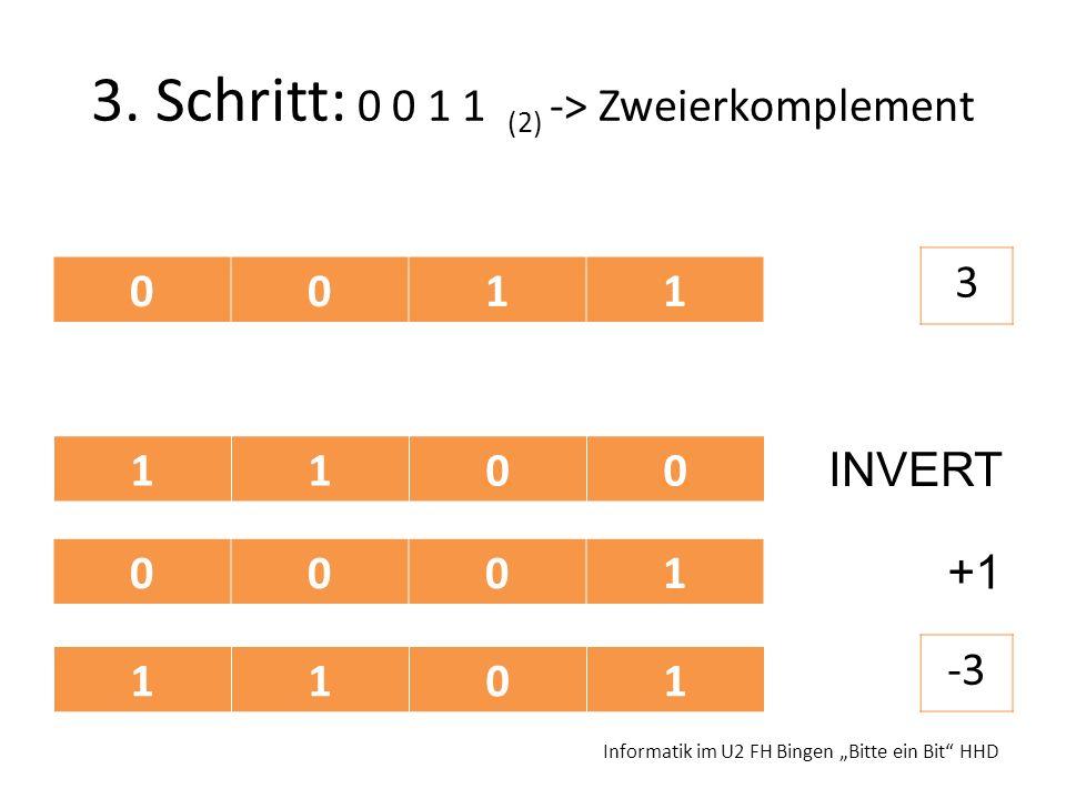 3. Schritt: 0 0 1 1 (2) -> Zweierkomplement