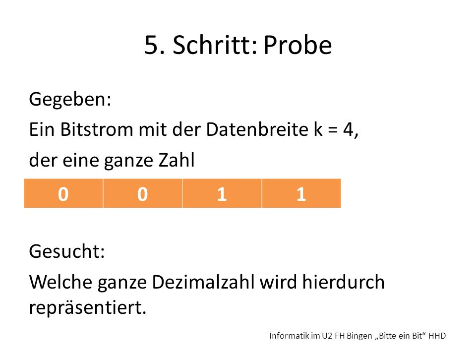 5. Schritt: Probe