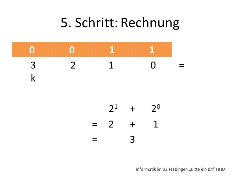5. Schritt: Rechnung 1 3 2 1 0 = k 21 + 20 = 2 + 1 = 3