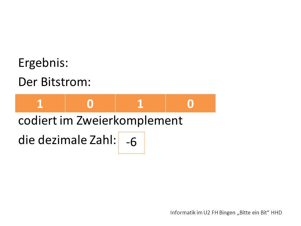 Ergebnis: Der Bitstrom: codiert im Zweierkomplement die dezimale Zahl: