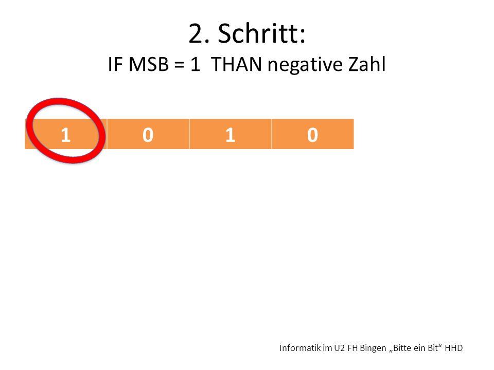 2. Schritt: IF MSB = 1 THAN negative Zahl