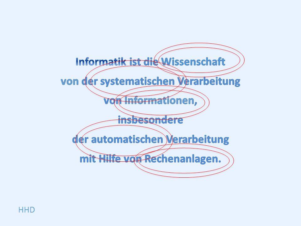 Informatik ist die Wissenschaft von der systematischen Verarbeitung von Informationen, insbesondere der automatischen Verarbeitung mit Hilfe von Rechenanlagen.