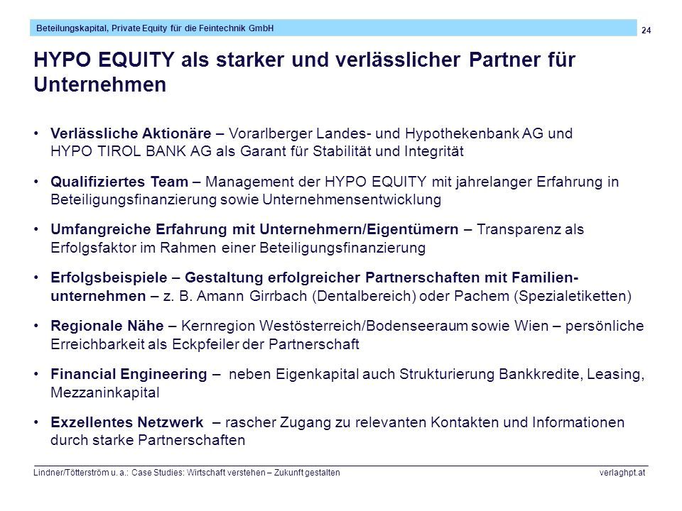 HYPO EQUITY als starker und verlässlicher Partner für Unternehmen