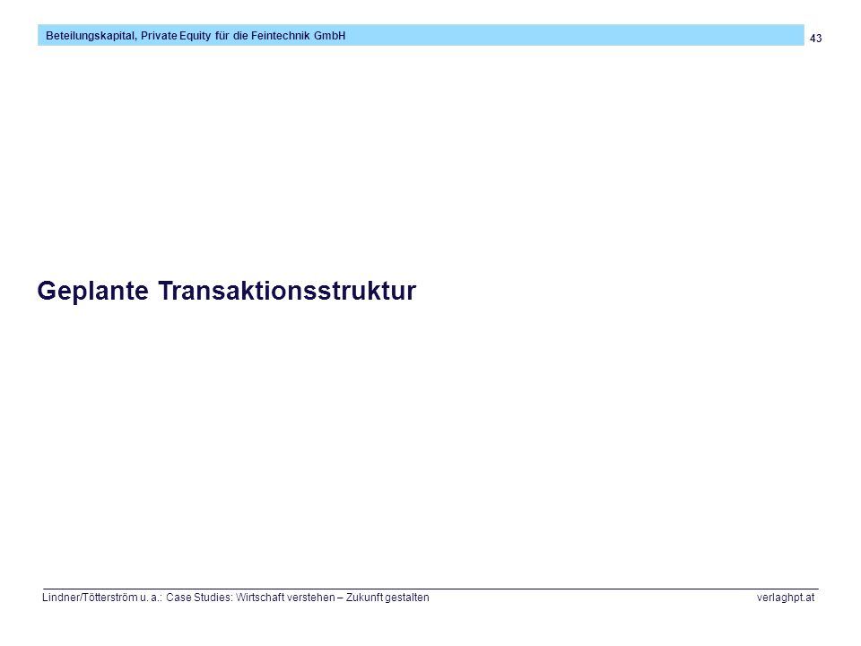 Geplante Transaktionsstruktur