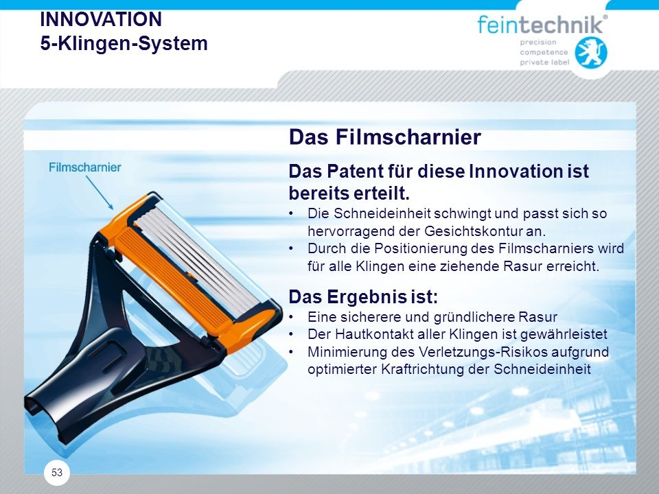 Das Filmscharnier INNOVATION 5-Klingen-System