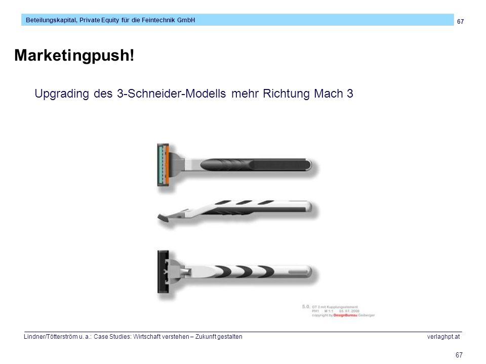 Marketingpush! Upgrading des 3-Schneider-Modells mehr Richtung Mach 3