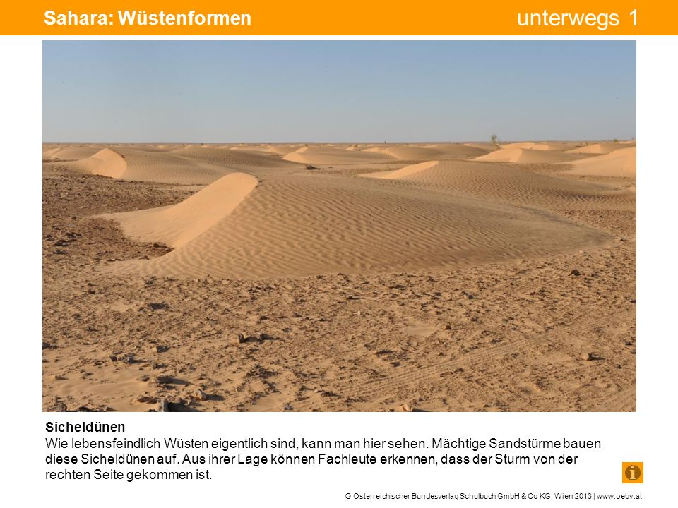 Sahara: Wüstenformen Sicheldünen