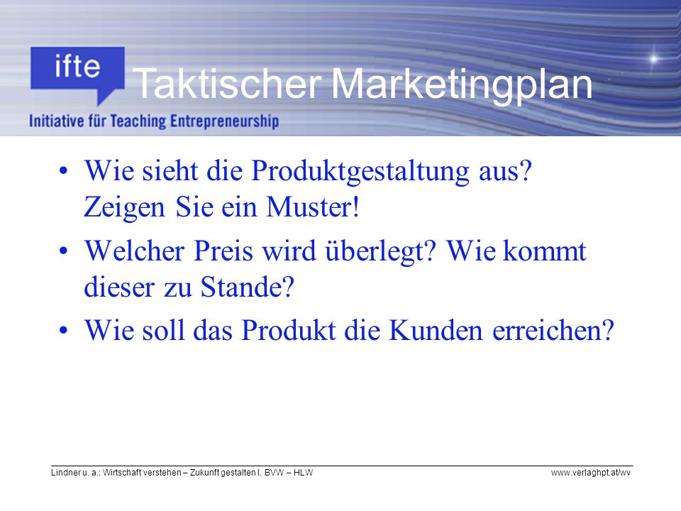 Taktischer Marketingplan