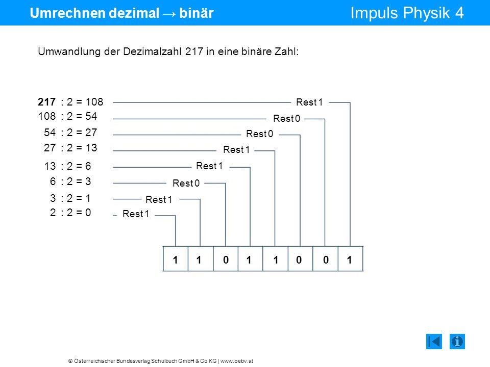 Umrechnen dezimal → binär