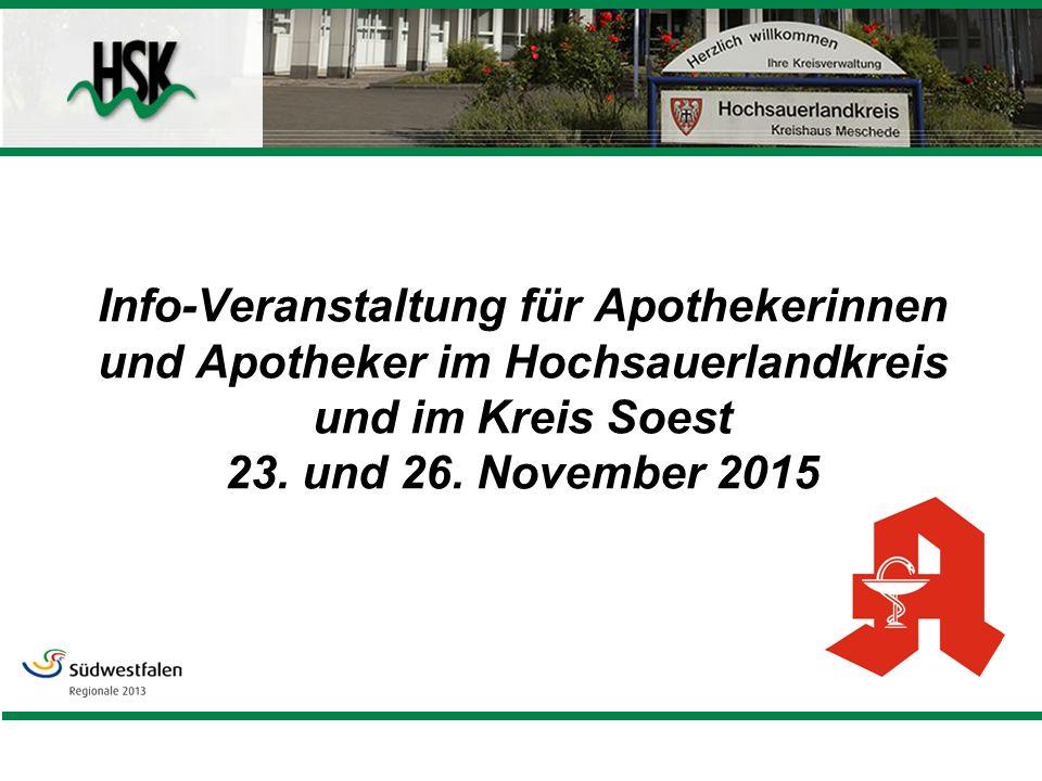 Info-Veranstaltung für Apothekerinnen und Apotheker im Hochsauerlandkreis und im Kreis Soest 23.