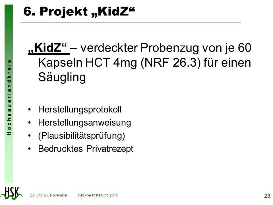 """6. Projekt """"KidZ """"KidZ – verdeckter Probenzug von je 60 Kapseln HCT 4mg (NRF 26.3) für einen Säugling."""