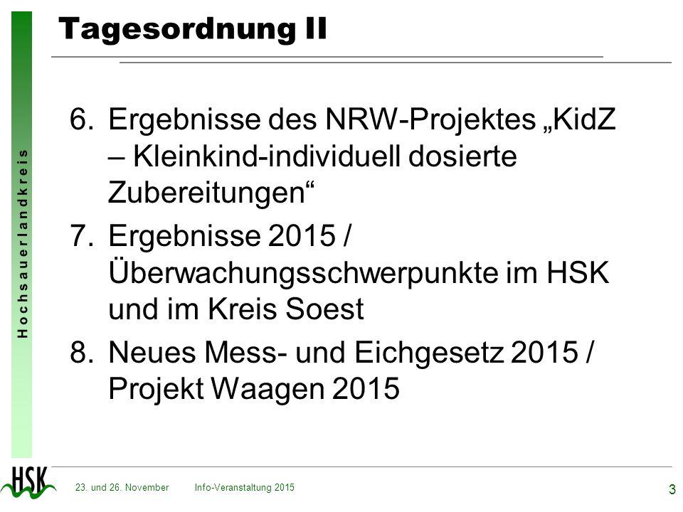 Ergebnisse 2015 / Überwachungsschwerpunkte im HSK und im Kreis Soest