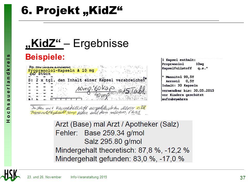 """6. Projekt """"KidZ """"KidZ – Ergebnisse Beispiele: 23. und 26. November"""