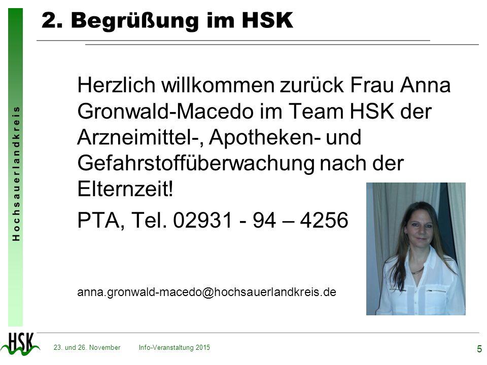 2. Begrüßung im HSK