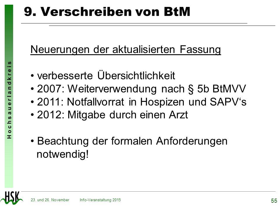 9. Verschreiben von BtM Neuerungen der aktualisierten Fassung